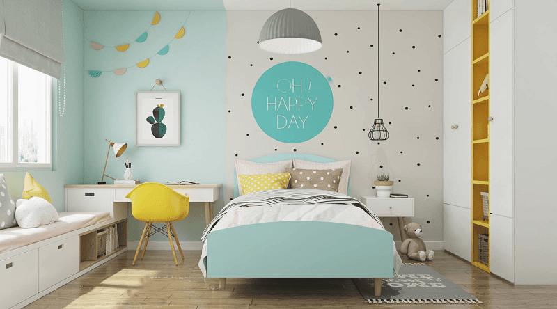Phòng ngủ siêu đáng yêu cho bé với đa dạng kiểu dán tường