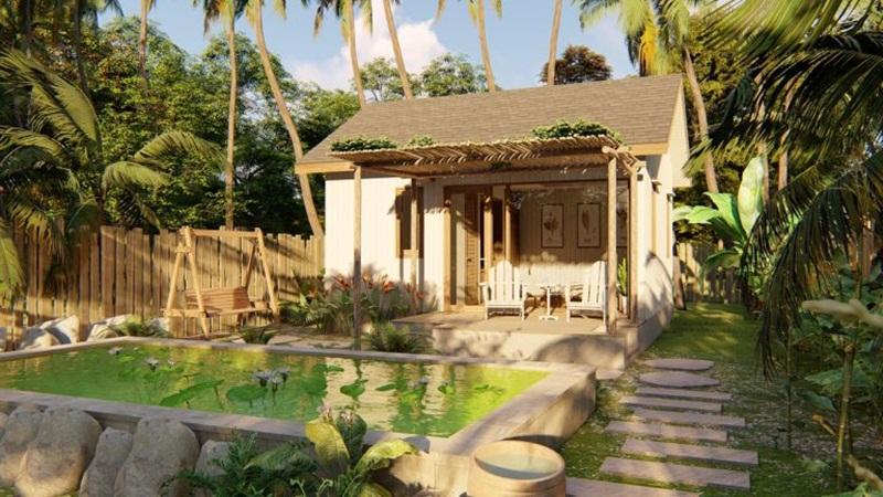 Mẫu 8: nhà vườn đơn giản, mộc mạc